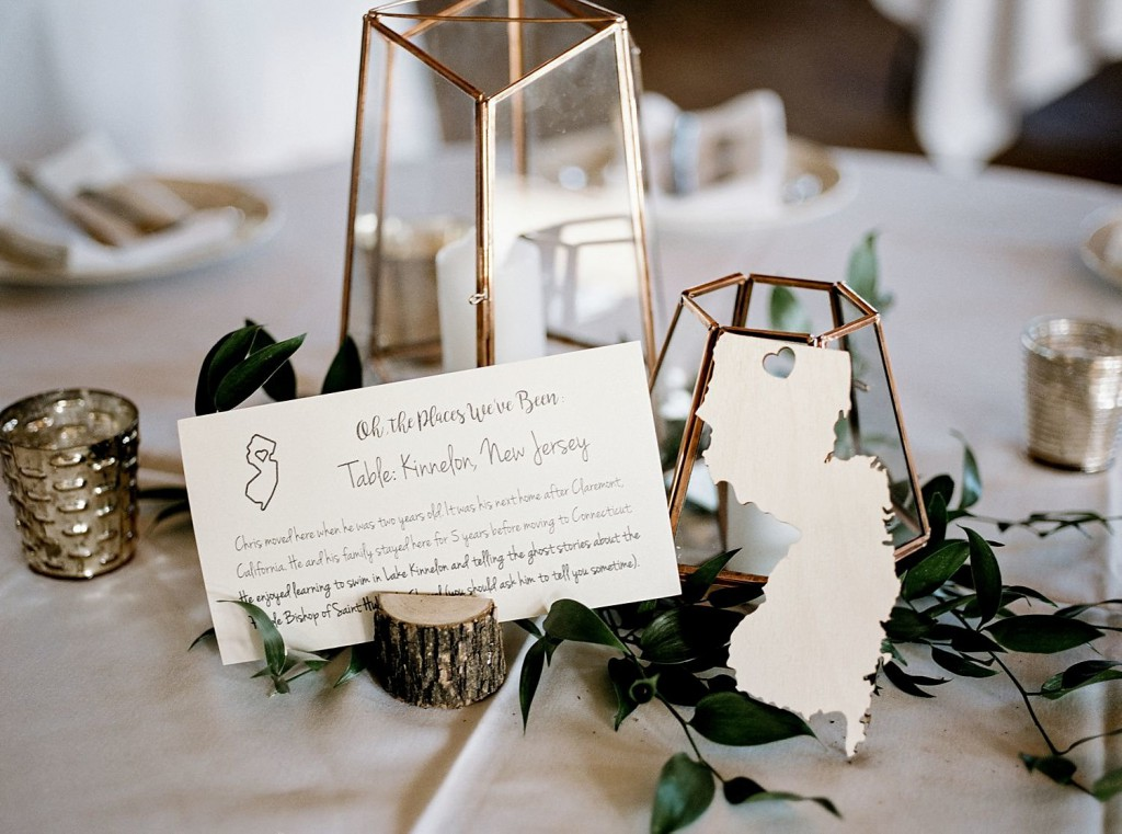 Geometric lantern centerpiece with unique table numbers/names