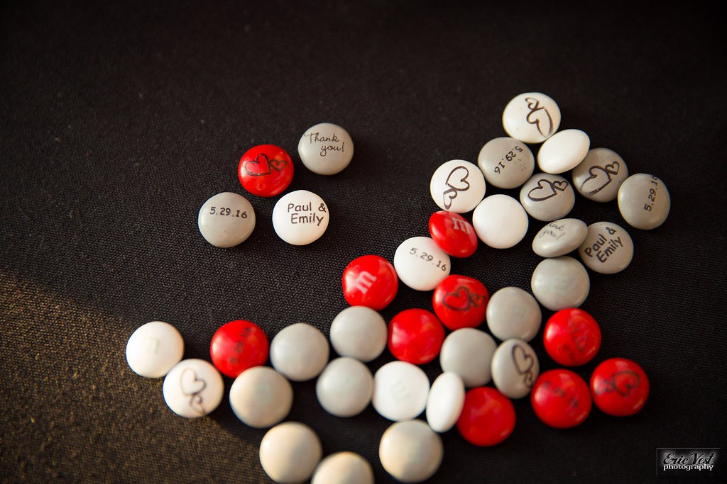 wedding favors- custom M&M's in red, grey, white and black