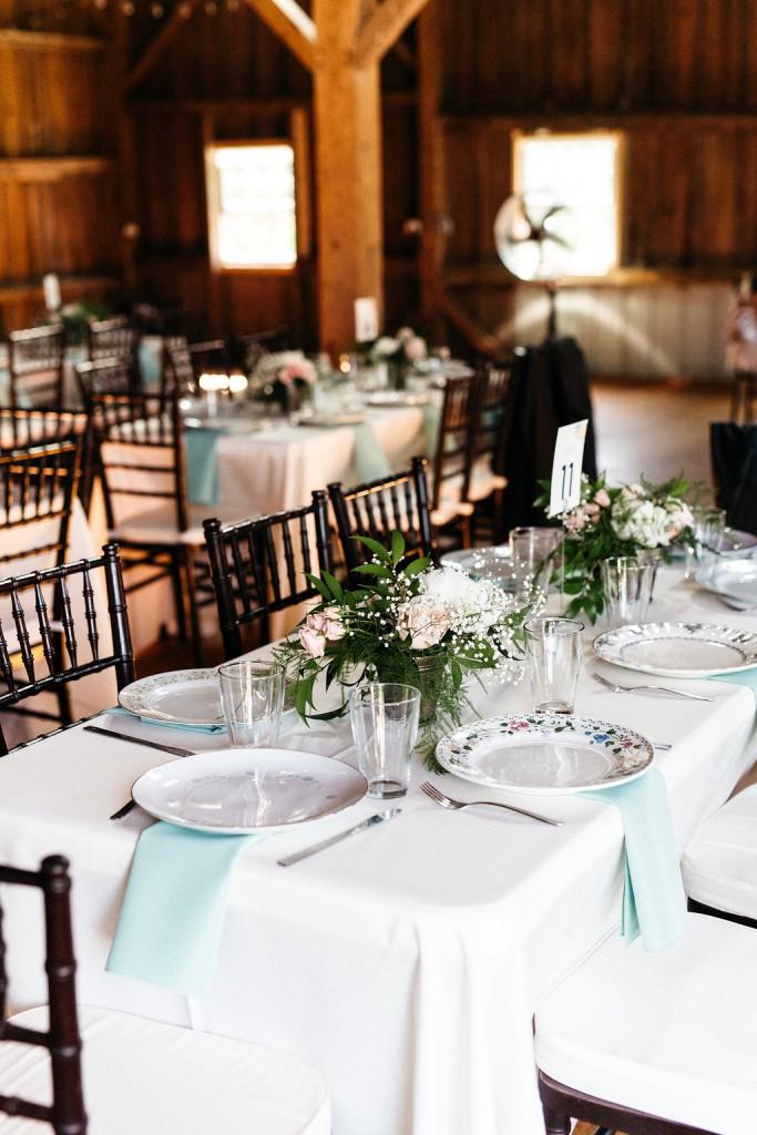 mint and blush wedding reception vintage decor at Red Barn Farm,