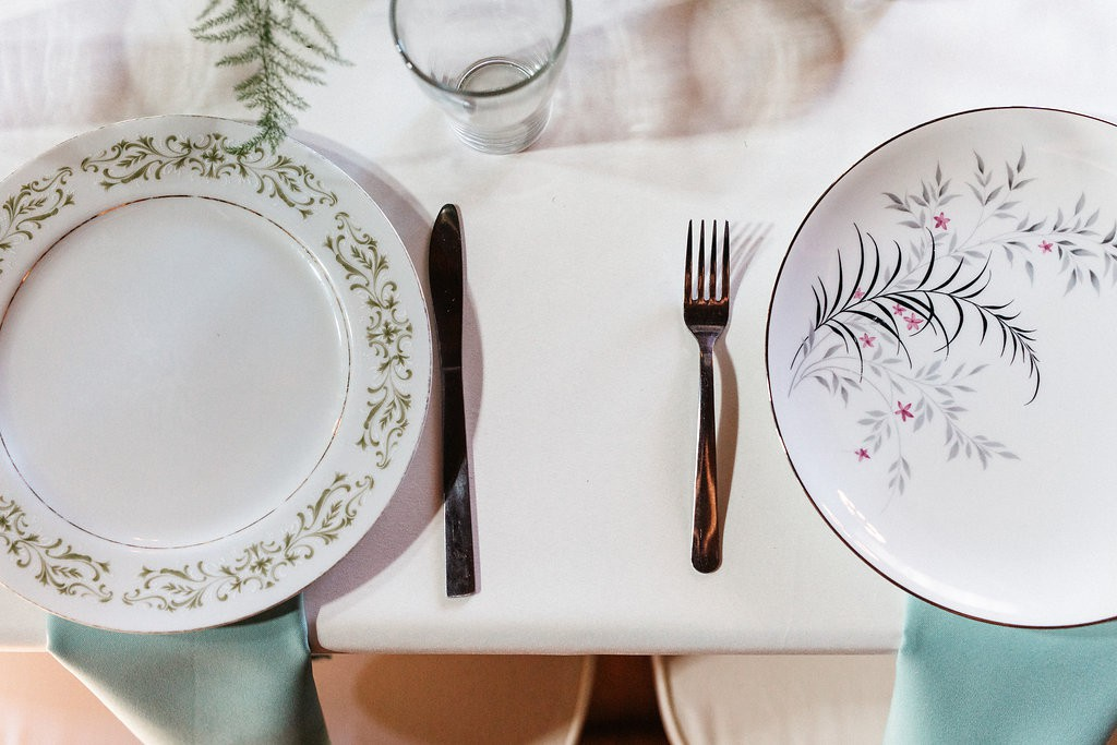 vintage place setting for wedding reception