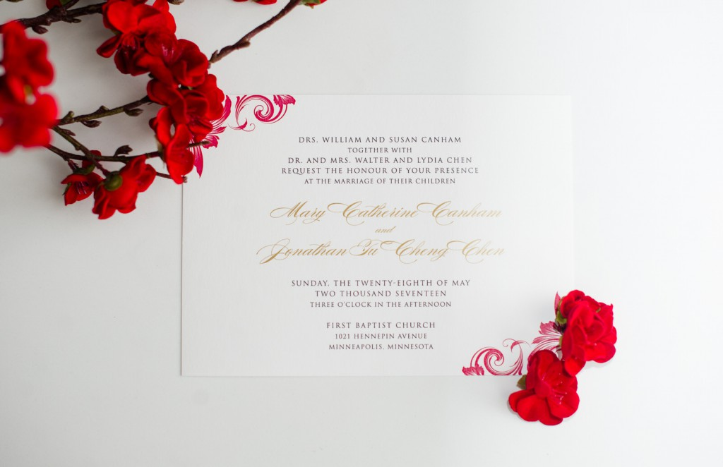 pink and red wedding invitation