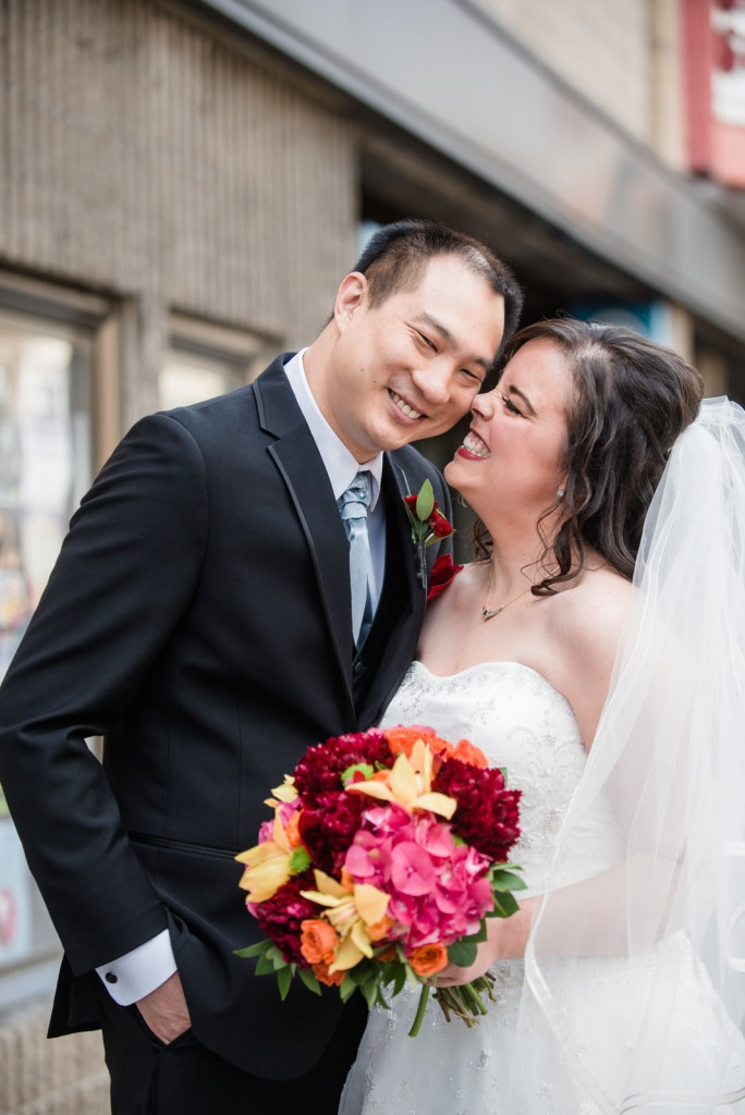 Happy bride and groom on wedding day at Radisson Blu downtown Mpls