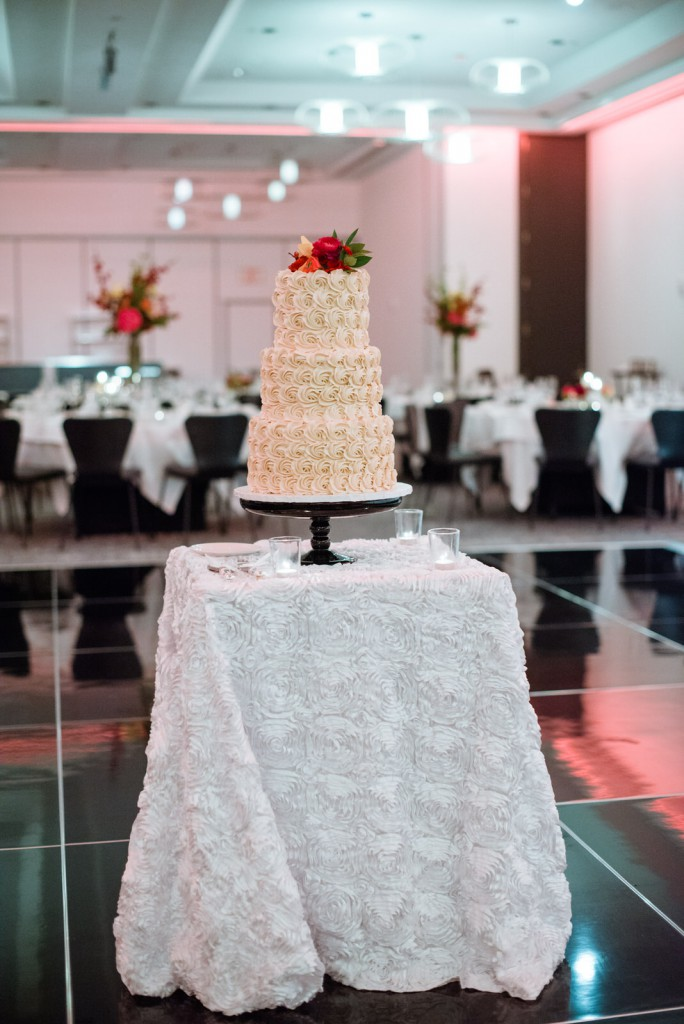 cake table with three tier rosette wedding cake