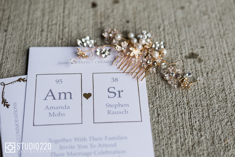 Bridal accessories and science theme wedding invitation