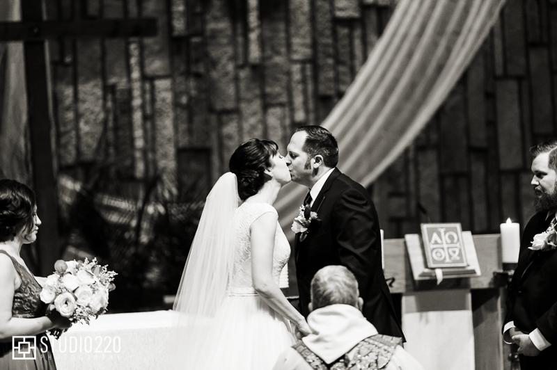Pax Wedding ceremony kiss at Christi Catholic Community