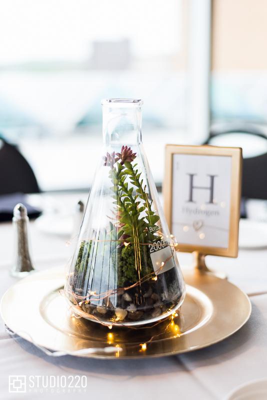 unique centerpiece ideas for science theme wedding- beaker
