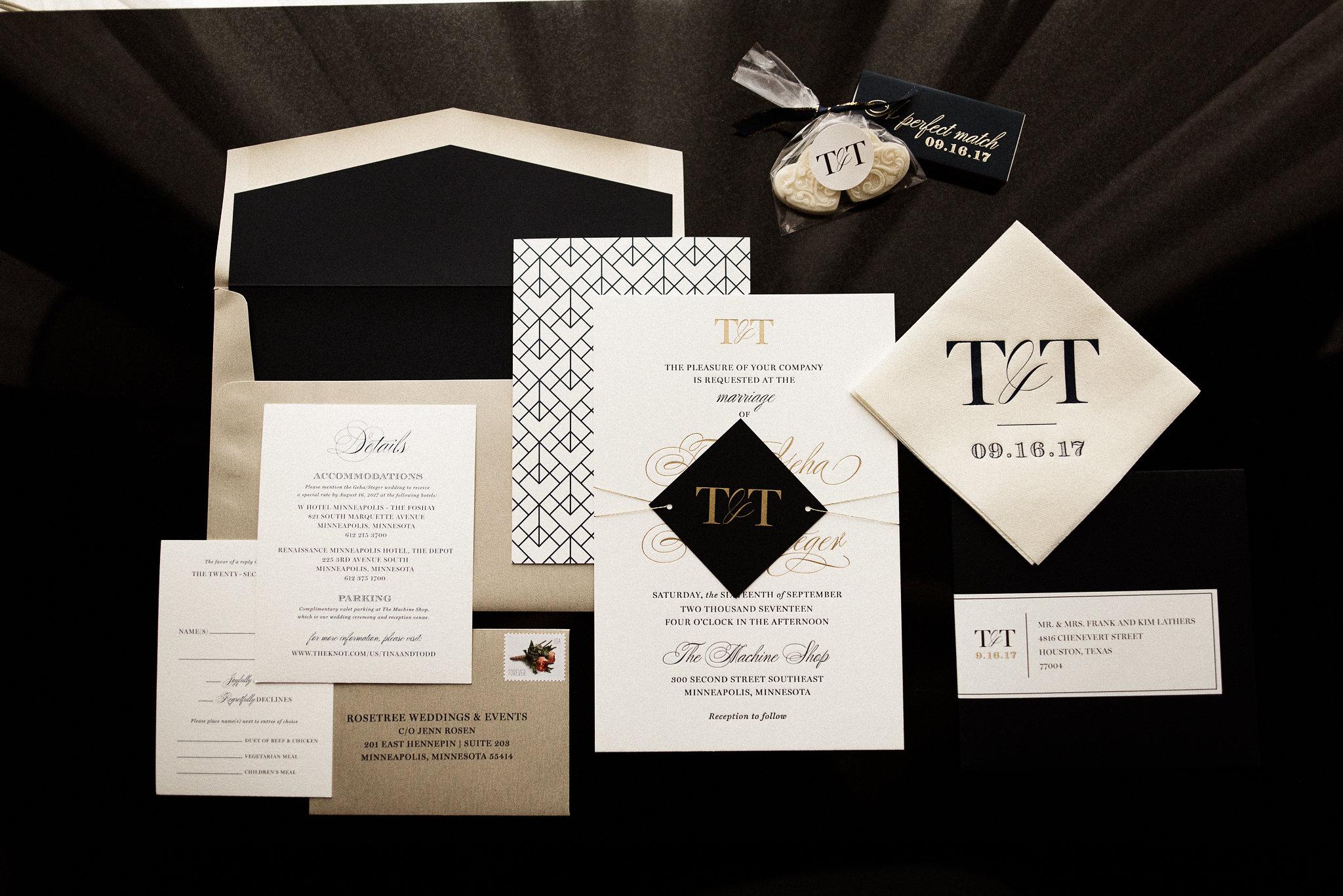 black, white and gold wedding invitations