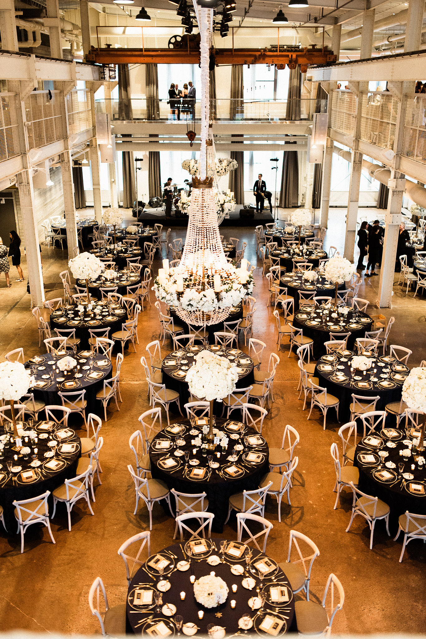 black, white, and gold themed wedding reception