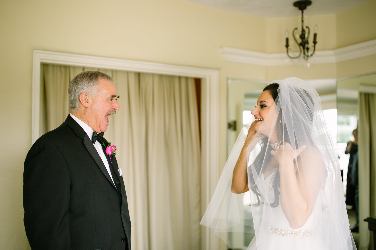father of the bride's first look of his daughter on her wedding day