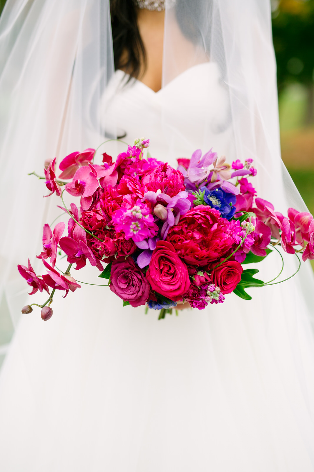 pink and purple bridal bouquet