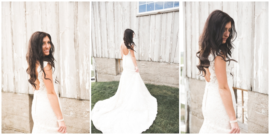 bride showing off her bride gown