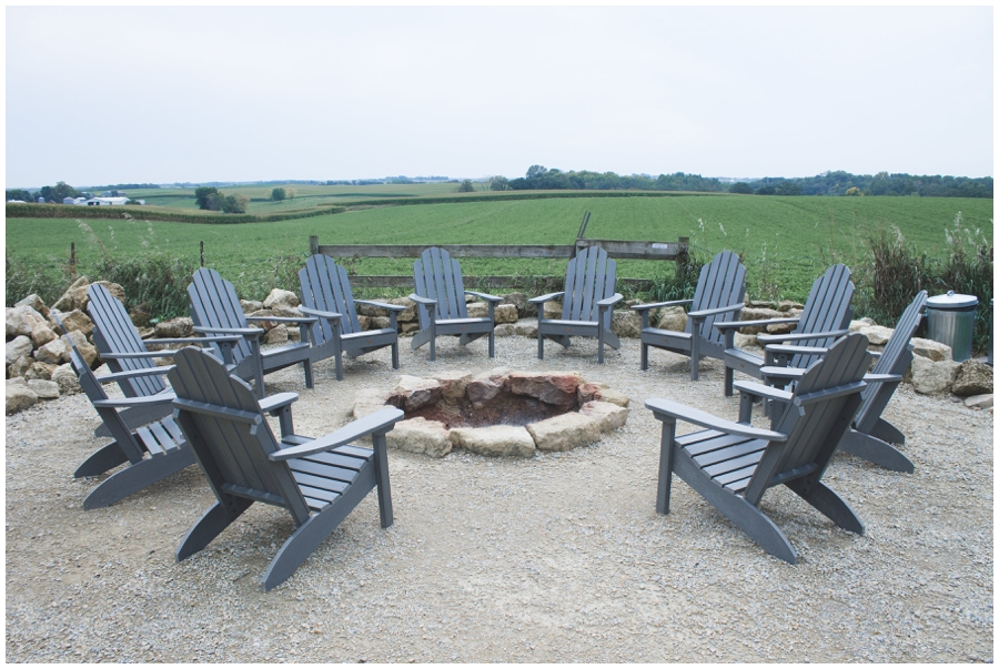 Outdoor fireplace at wedding venue in MN