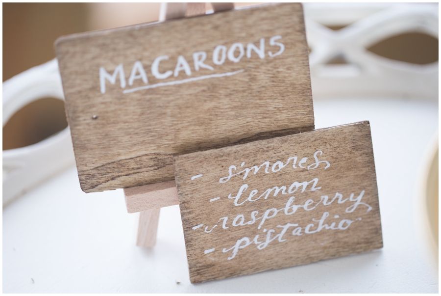 Macaroons sign for wedding reception