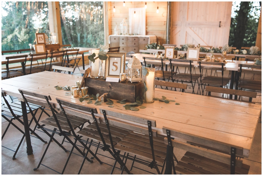 wedding reception tables with centerpiece