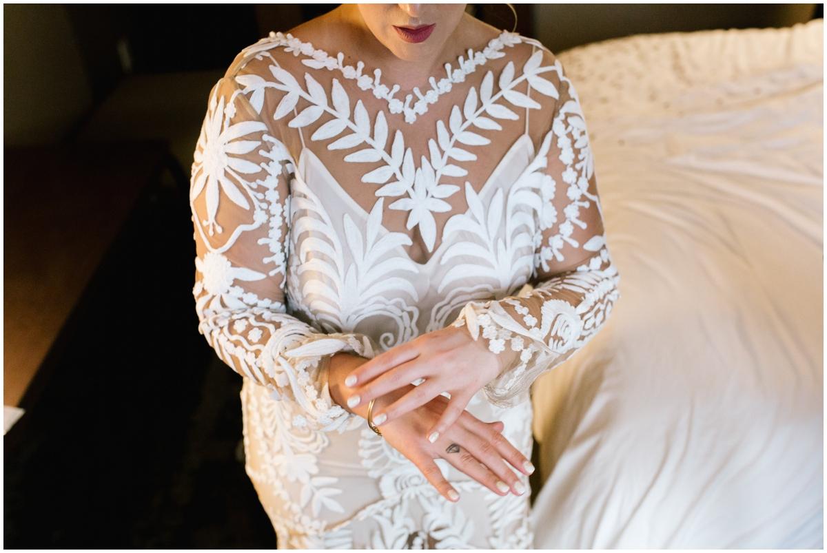 Bride's boho wedding dress