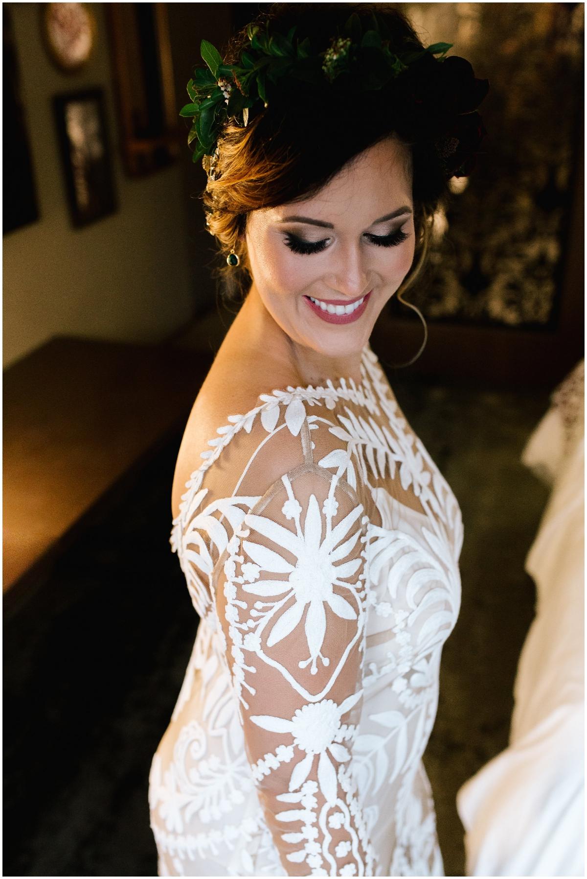 Boho fashion forward wedding gown