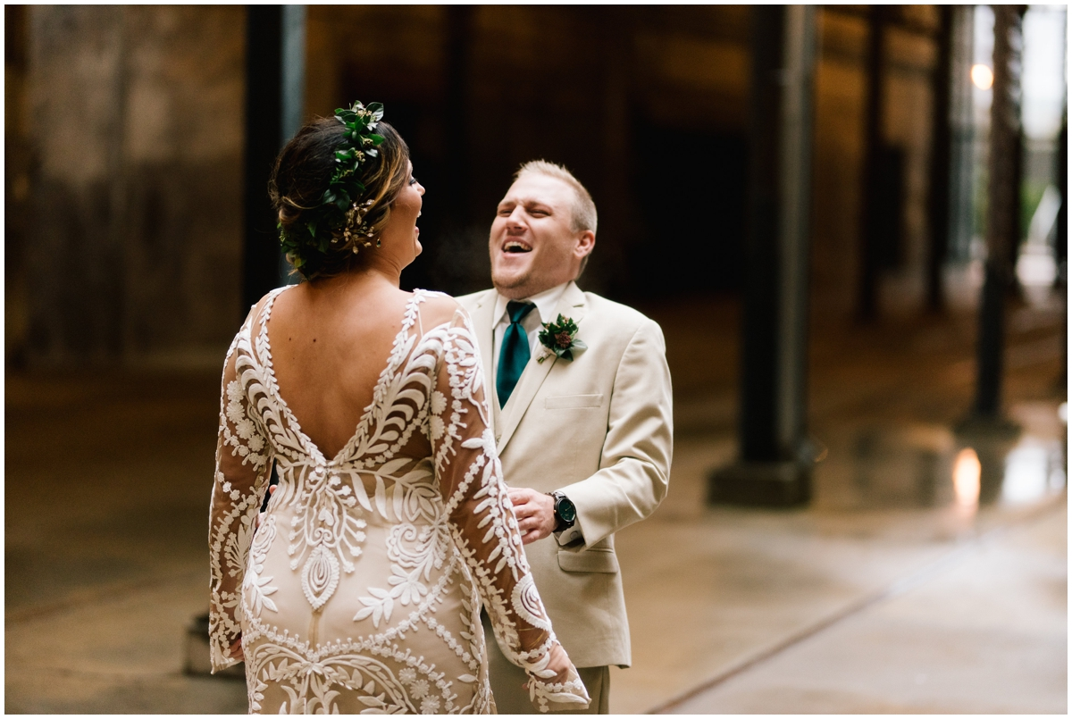 Bride and groom happy during their first look