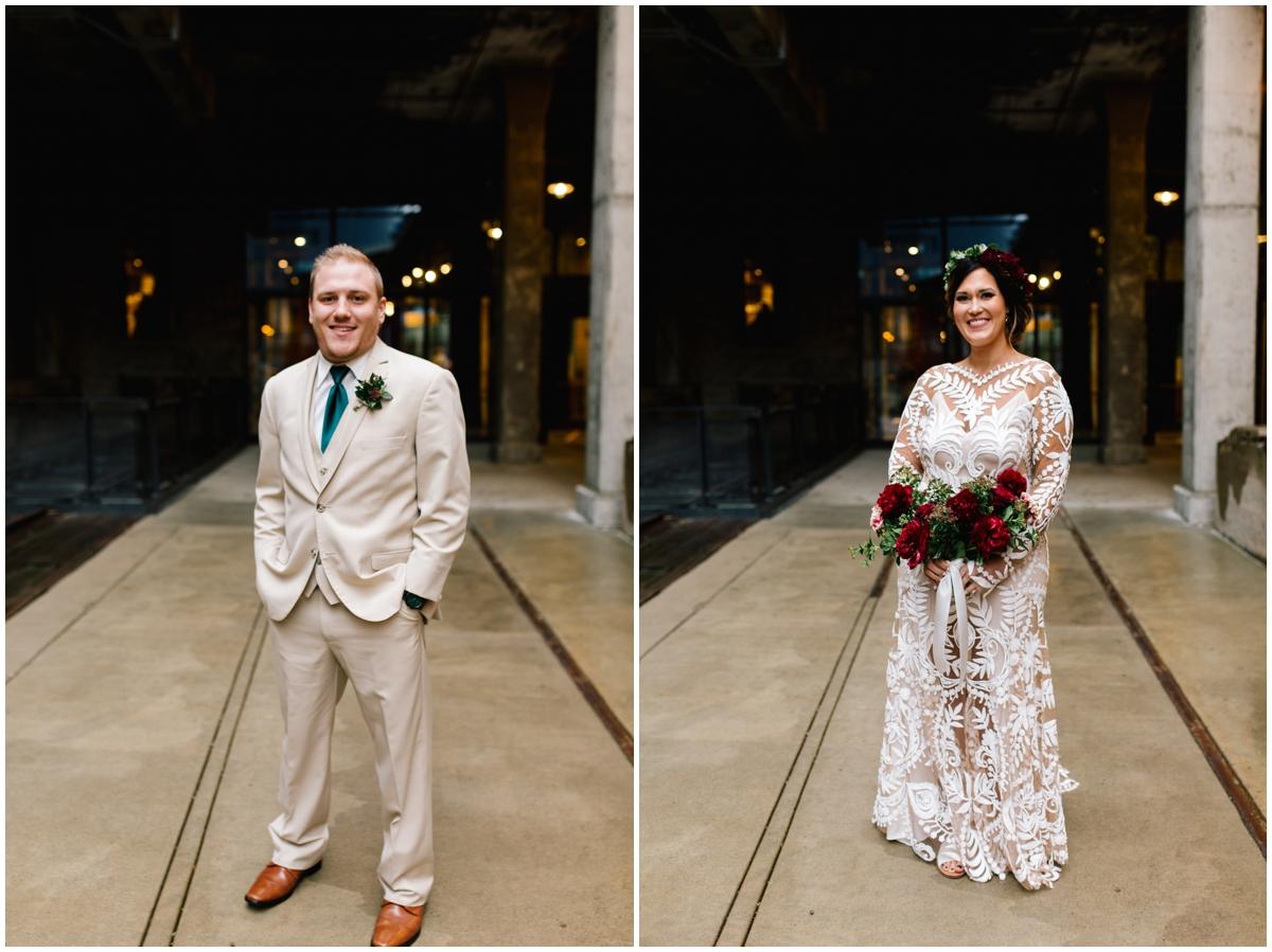 Bride and groom at their boho greenery wedding