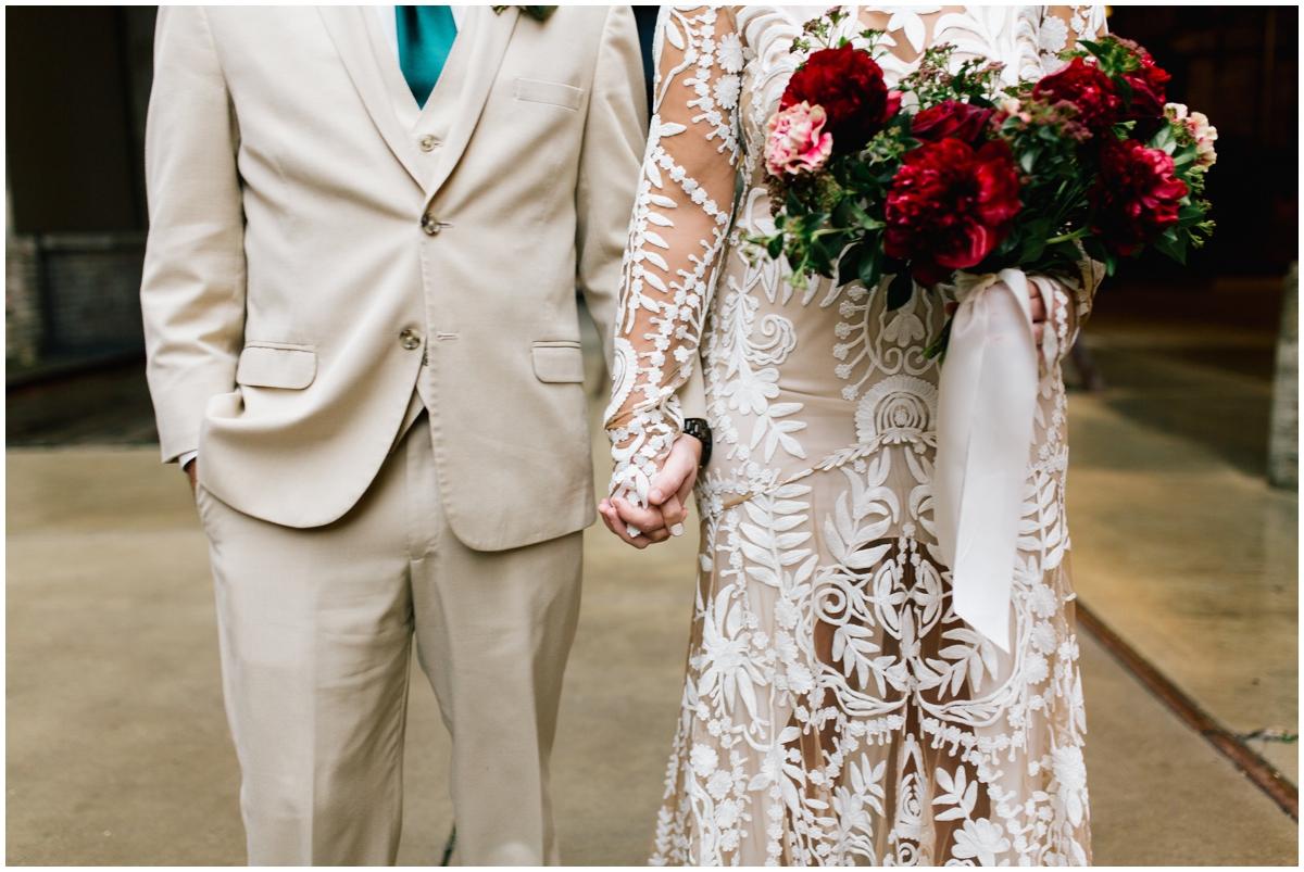 Bride and groom's wedding attire