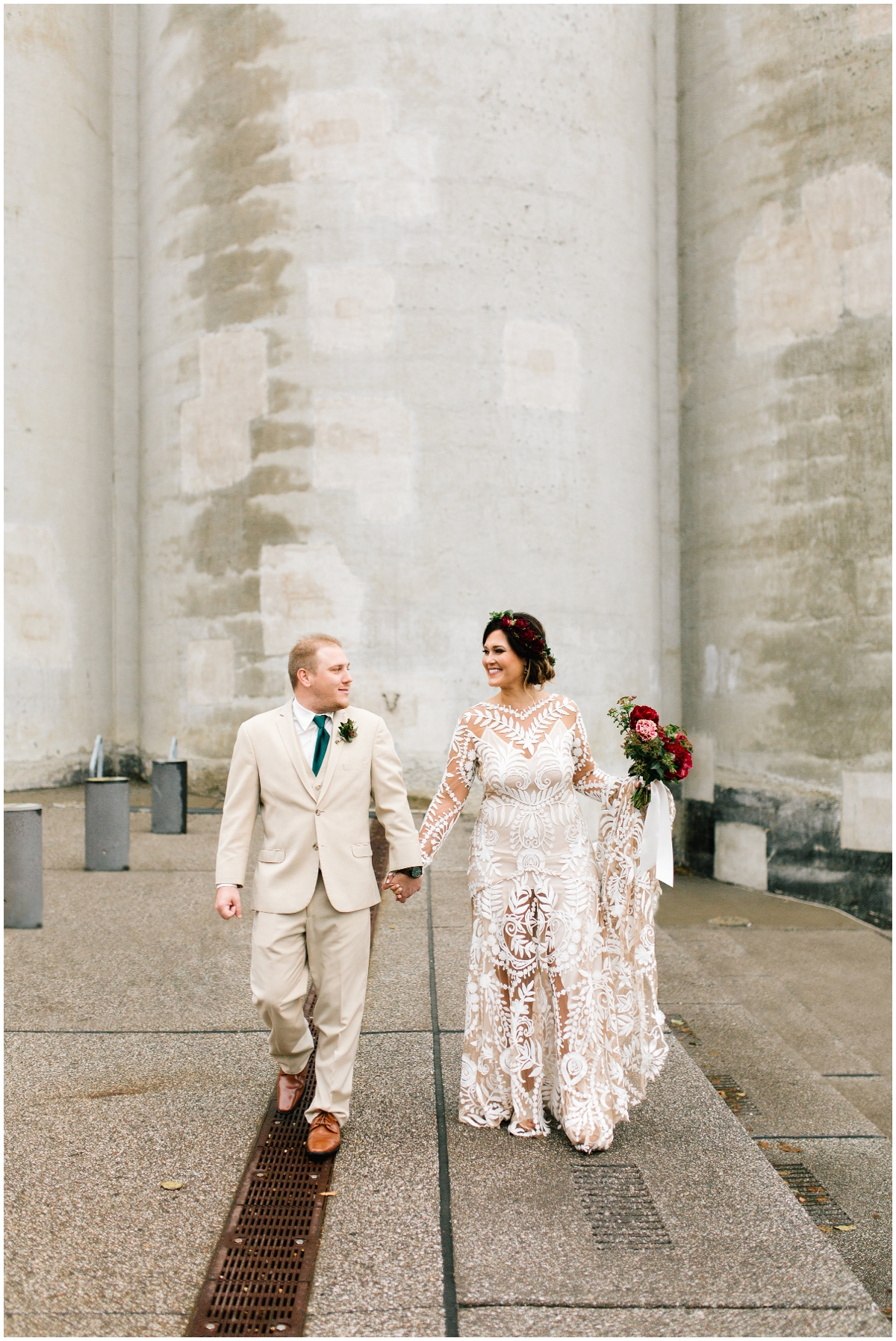 Bride and Groom before their wedding at the Mill City Museum