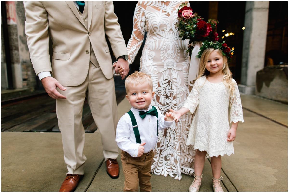 flower girl and ring bearer at a boho wedding