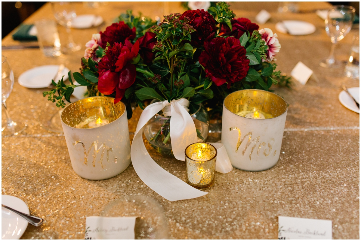 Mr and Mrs. Candles and Burgundy peony centerpiece