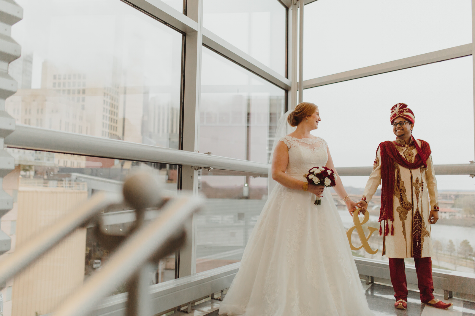 bride and groom for their first look