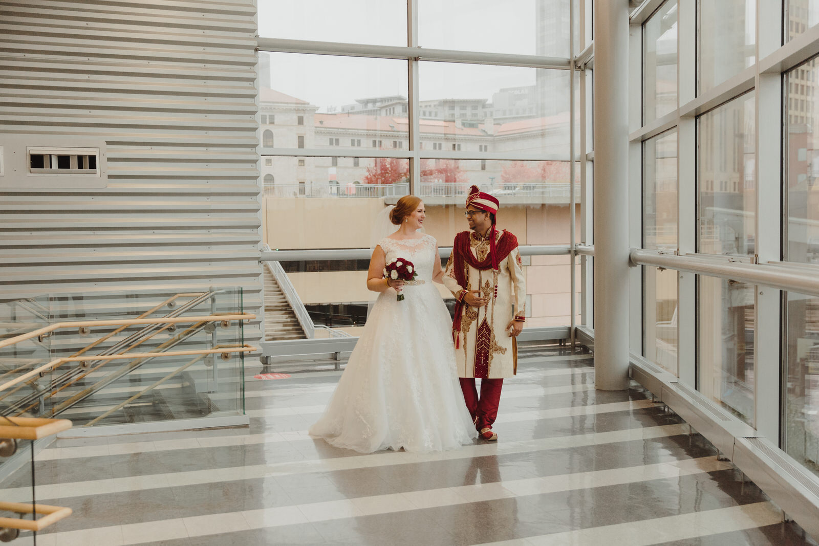 bride and groom first look at the Science of Museum of Minnesota venue