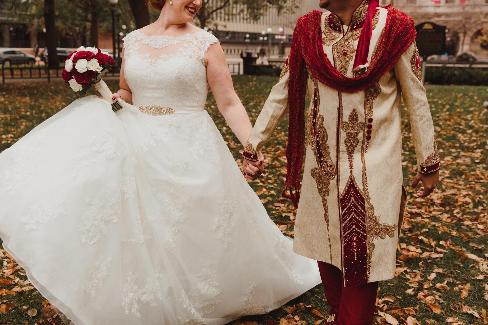 bride and groom walking around before their wedding