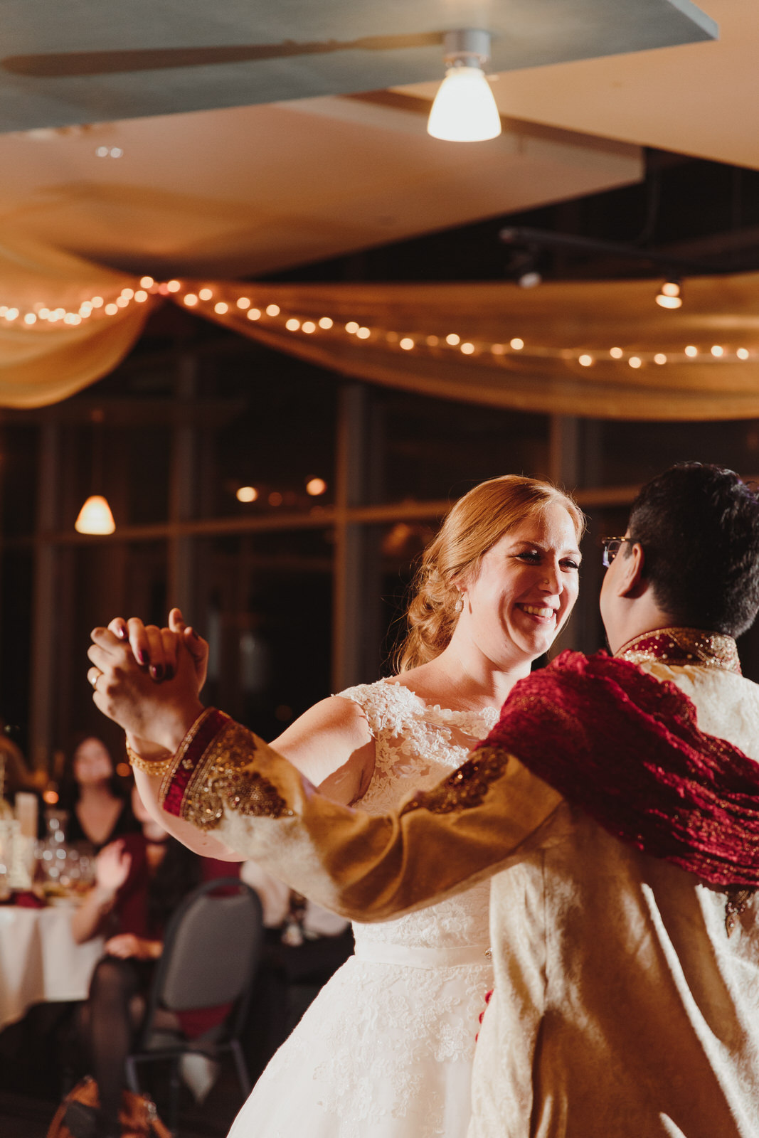 bride and groom dancing for the first time