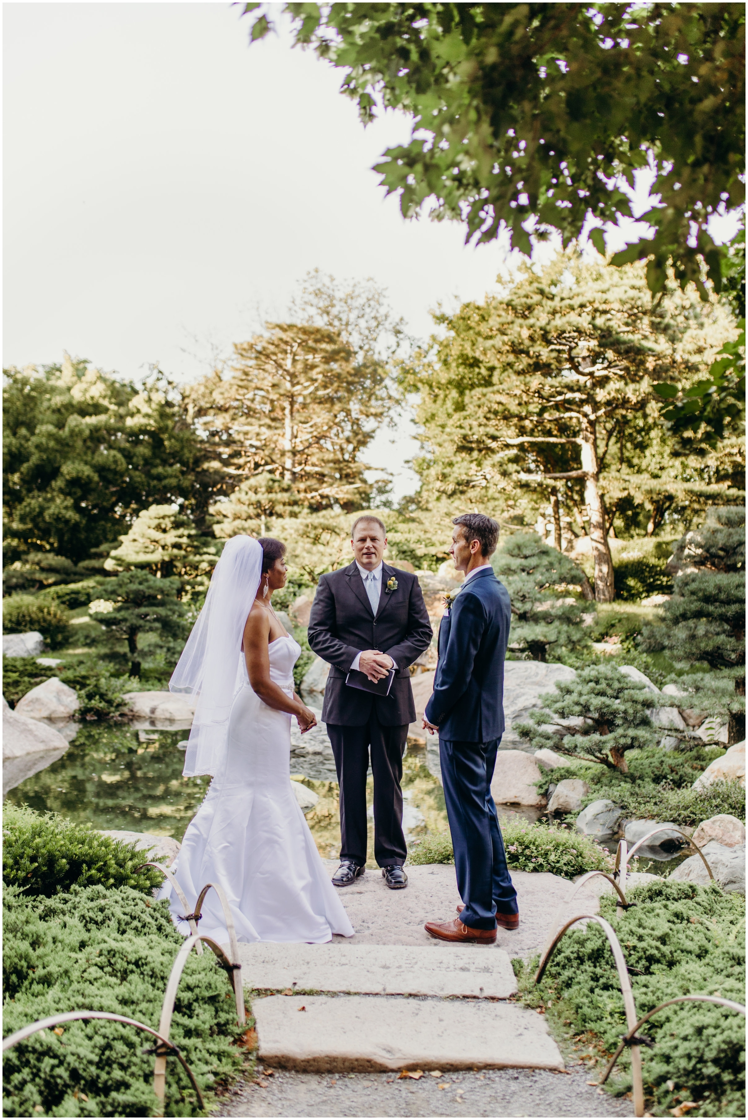 Bride and groom at Como Conservatory