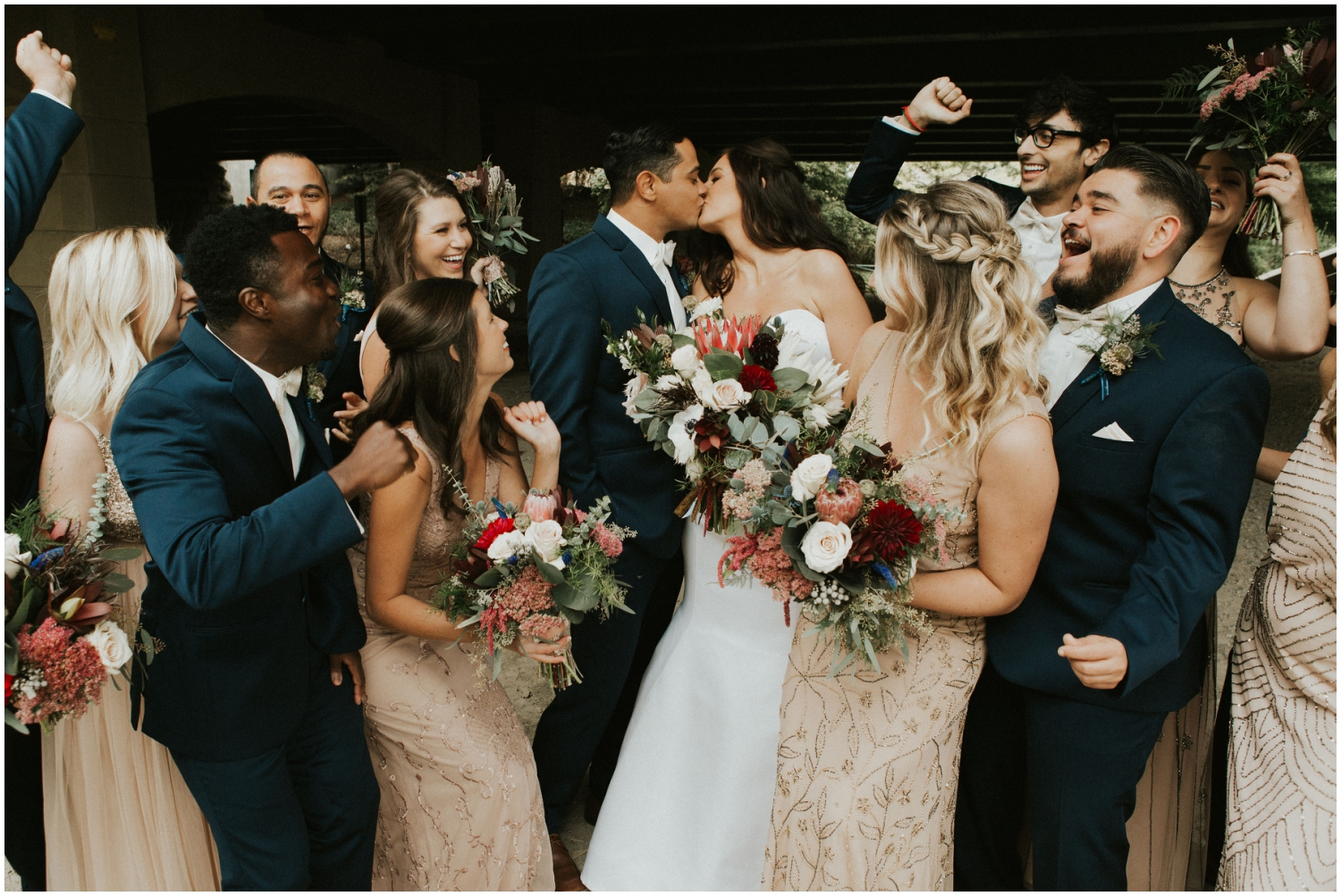 Bridal party with the couple for their MN Wedding