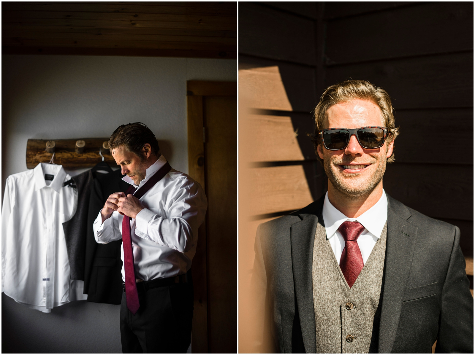 Groom getting ready for his wedding in Wisconsin