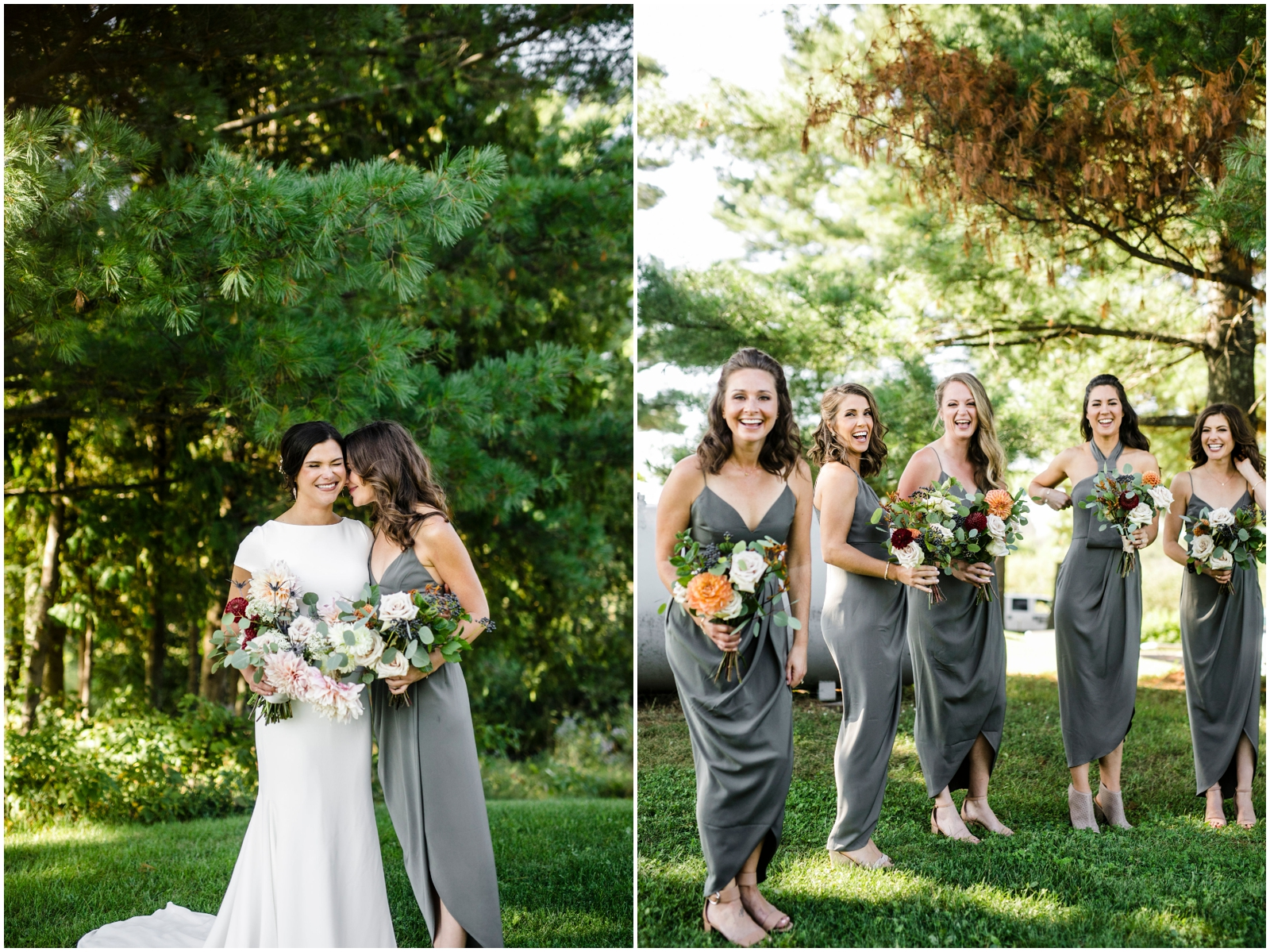 bride and bridesmaids holding their bridal bouquets