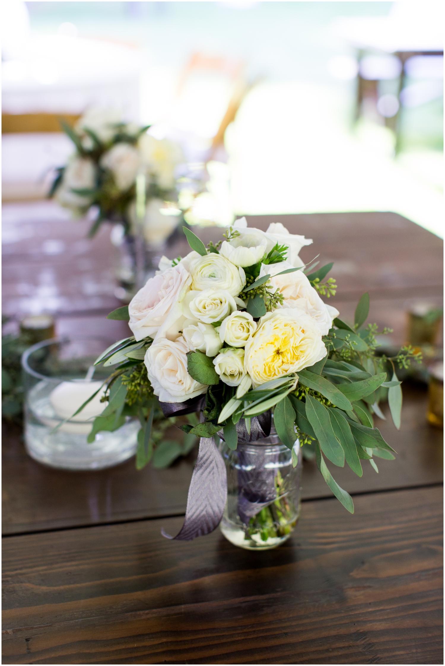 Outdoor wedding centerpiece floral