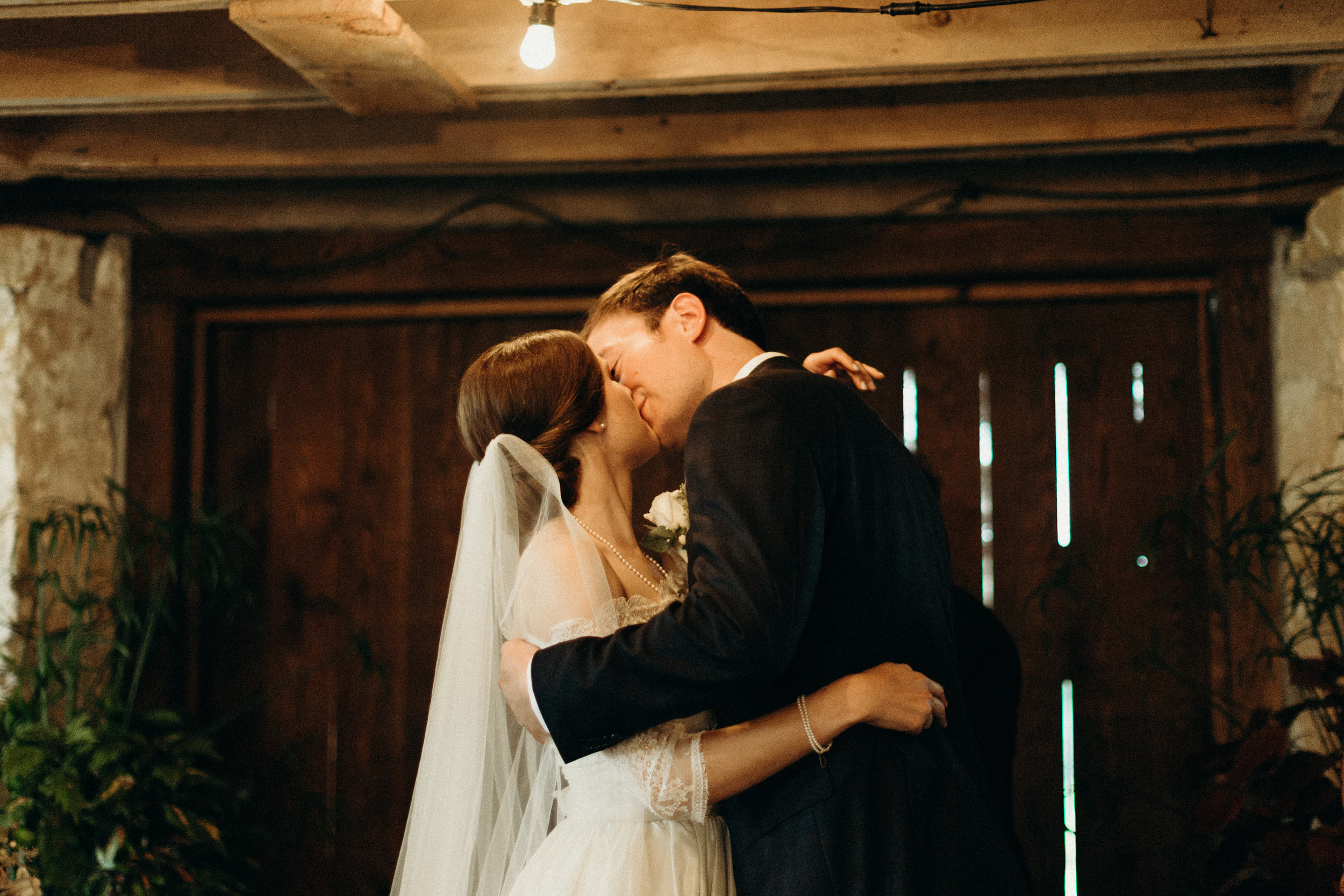 Bride and groom at their Wisconsin wedding
