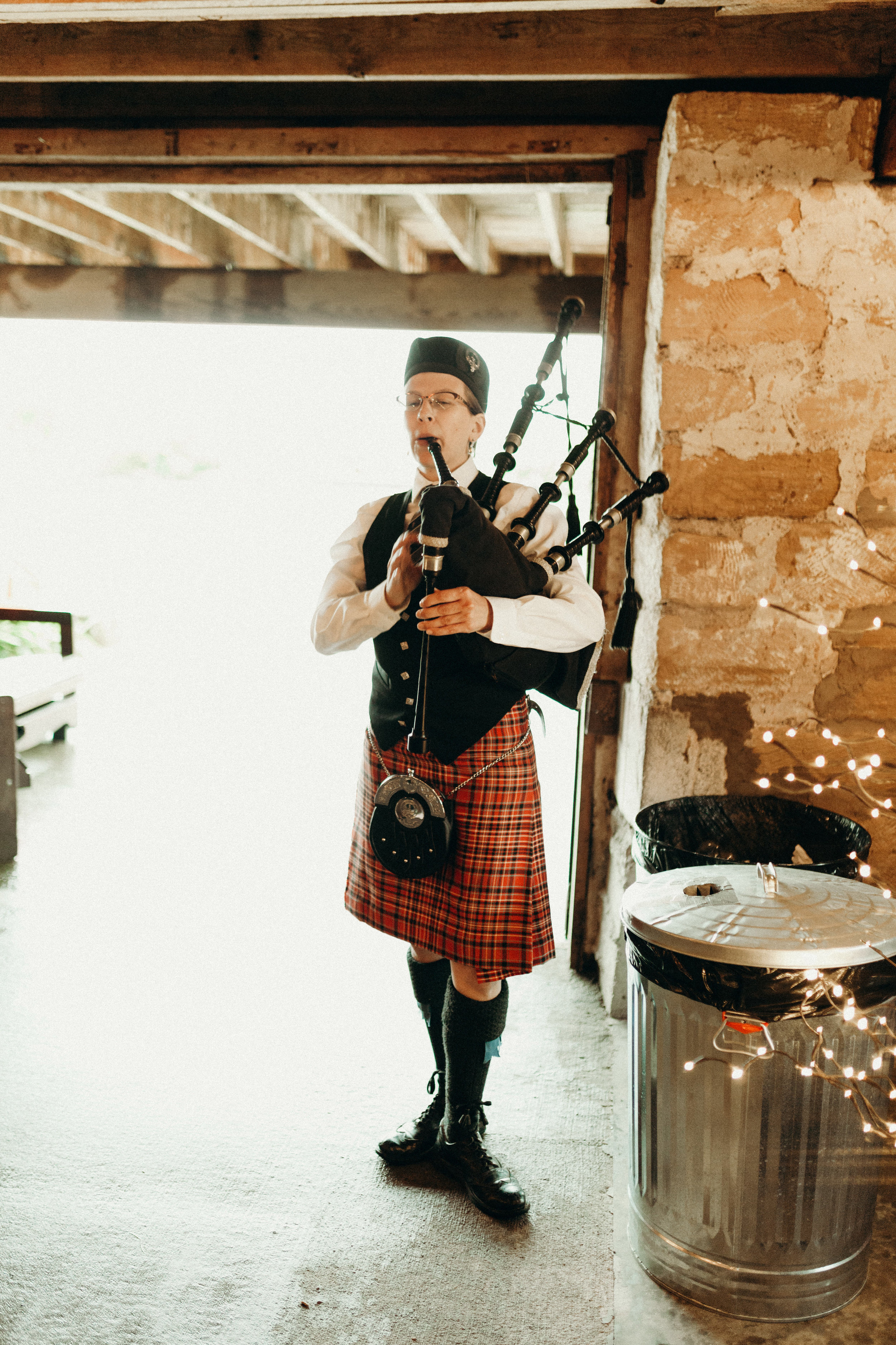 Bag pipes performer at the wedding ceremony