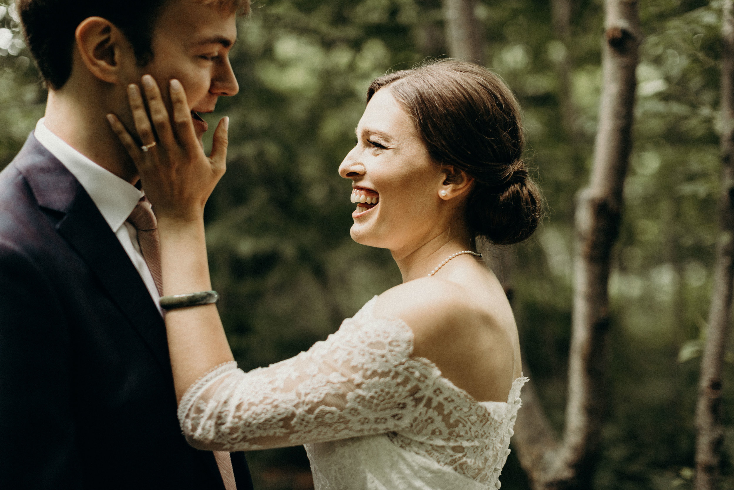 Bride and groom smiling during The First Look
