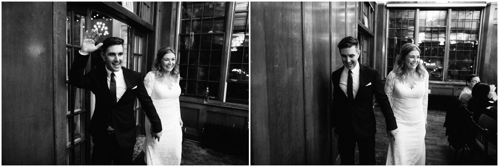 Minnesota Wedding Planner, Mpls Wedding Planner, Machine Shop MPLS, Mpls Wedding Venue . Bride and groom walking into their wedding reception