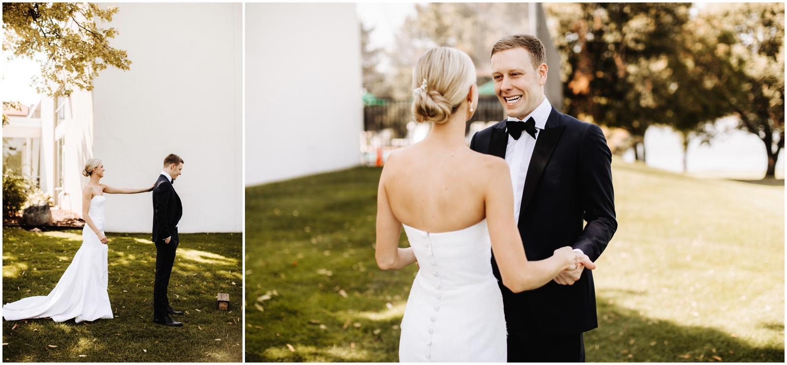 Minnesota Wedding Planner. Lafayette Club Wedding Bride and groom's first look