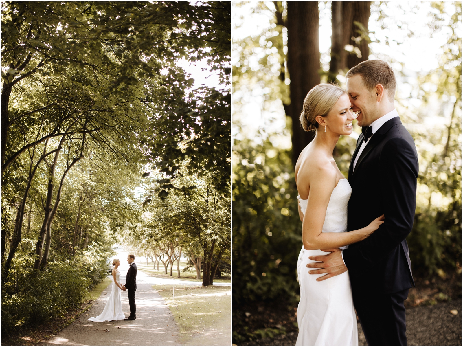 Minnesota Wedding Planner. Lafayette Club Wedding. Bride and groom in the forest
