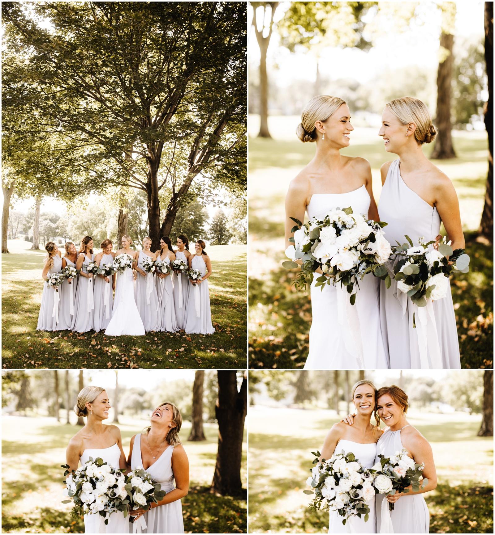 Minnesota Wedding Planner. Lafayette Club Wedding. Bride holding bridal bouquets with her bridesmaids