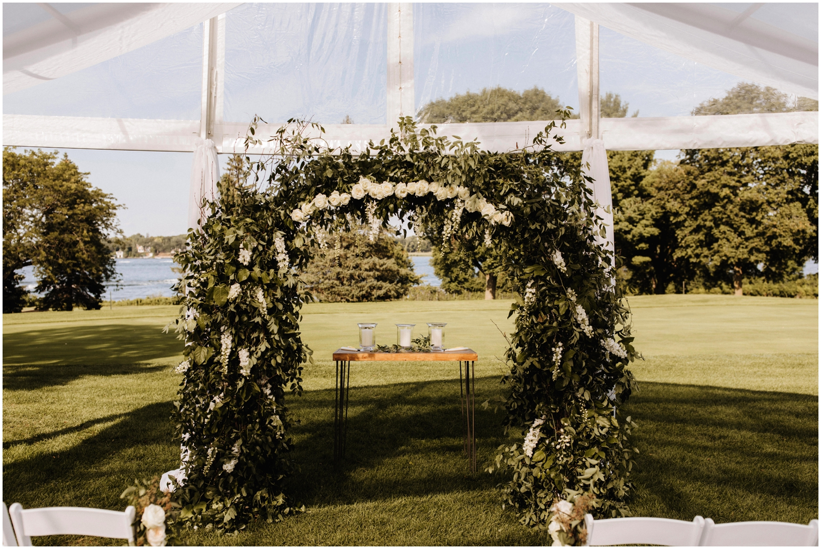 Minnesota Wedding Planner. Lafayette Club Wedding. Outdoor wedding ceremony arch