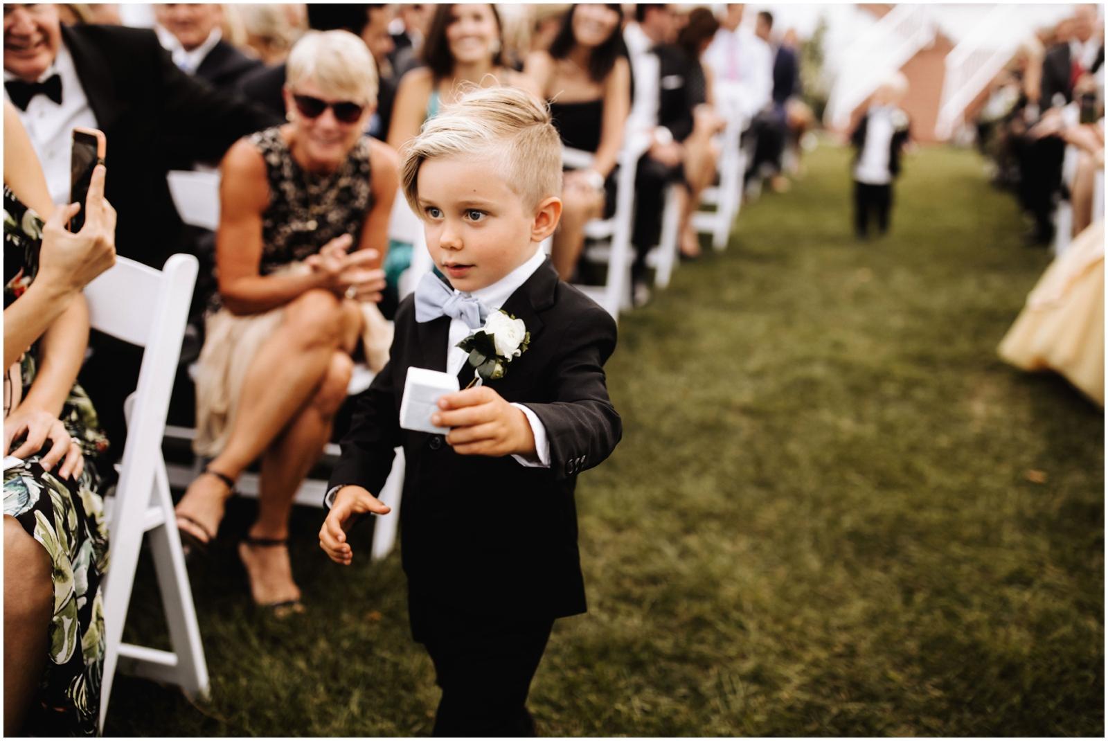 Minnesota Wedding Planner. Lafayette Club Wedding. Ring bearer walking down the aisle
