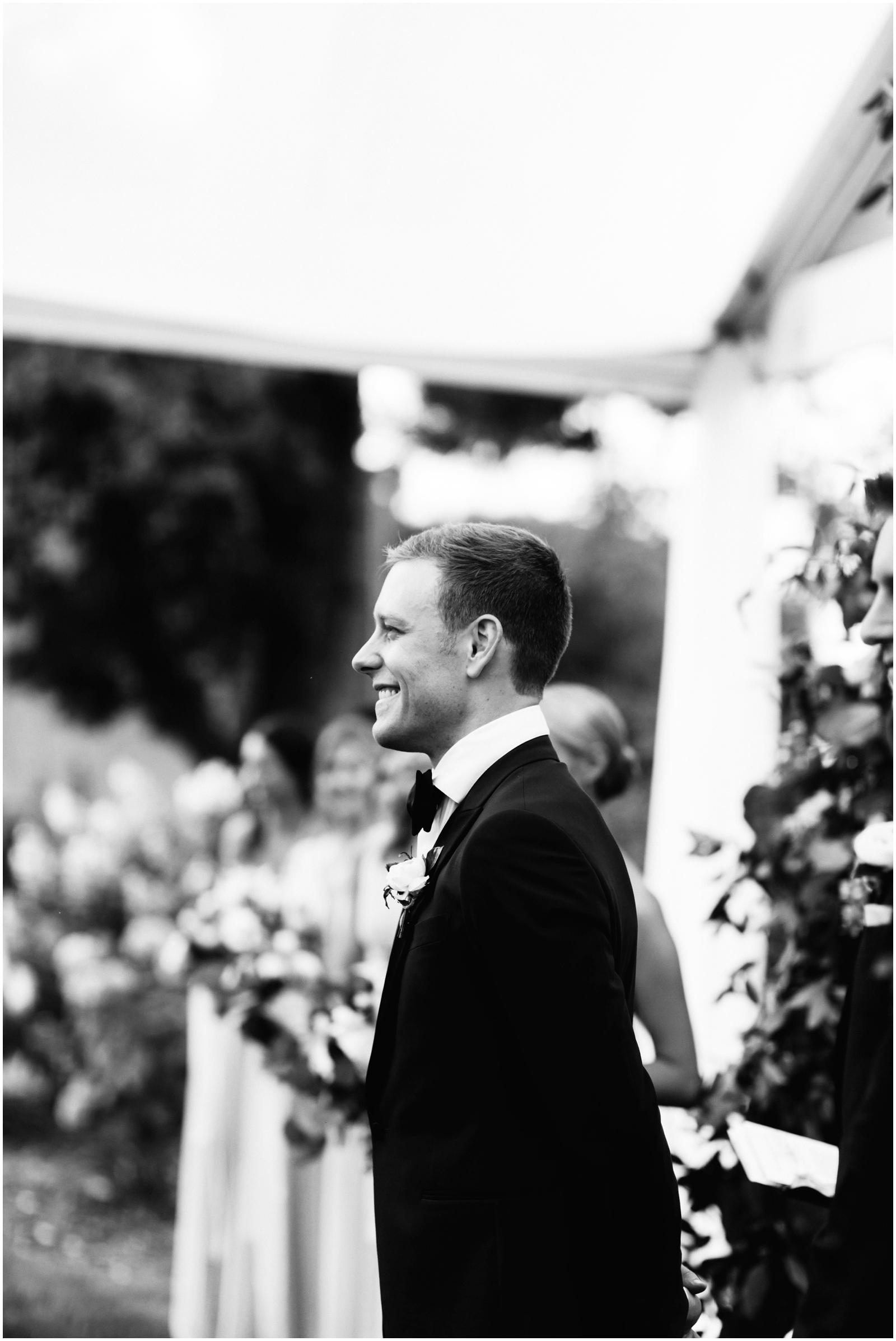 Minnesota Wedding Planner. Lafayette Club Wedding. Groom watching his bride walk down the aisle