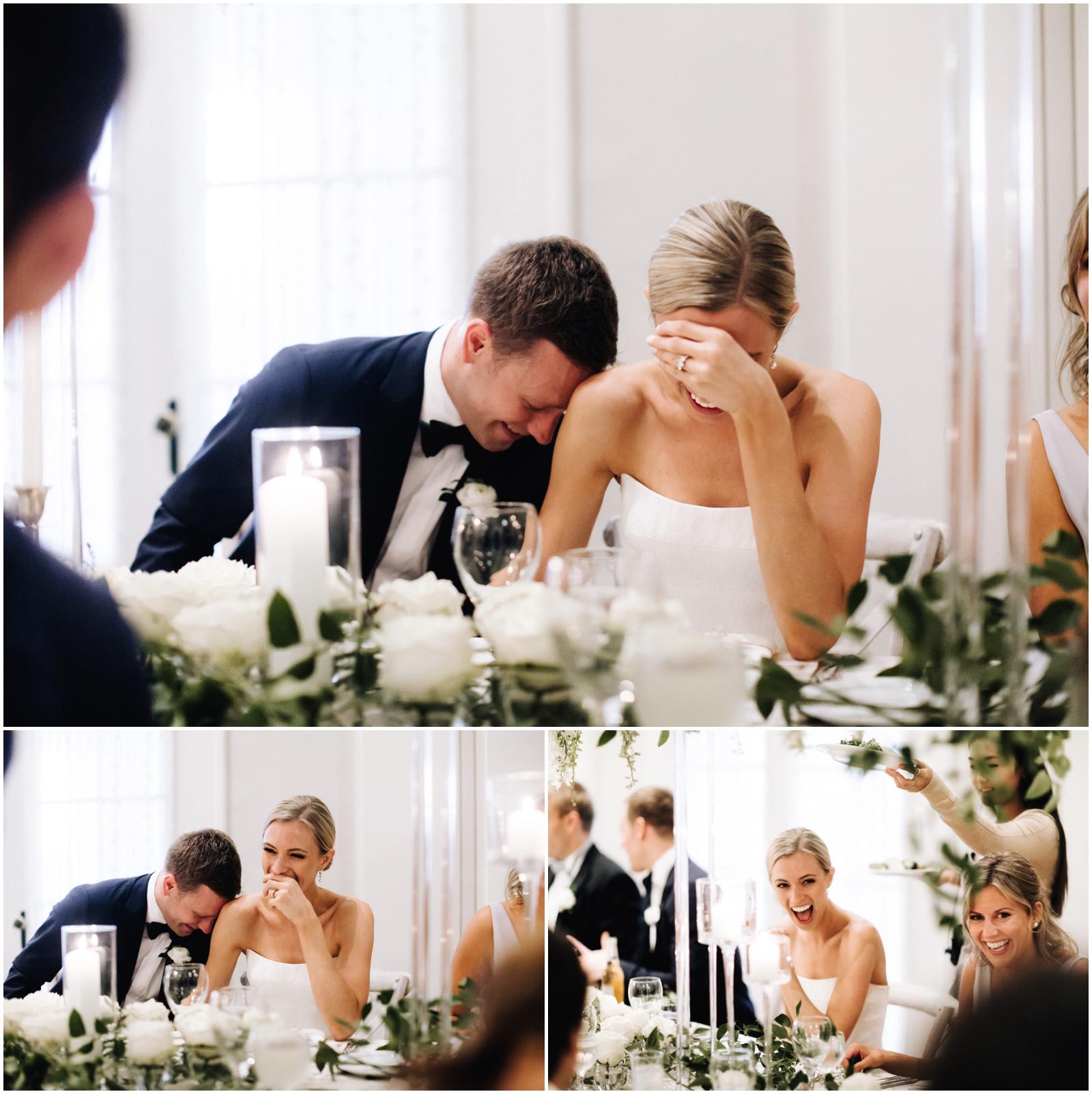 Minnesota Wedding Planner. Lafayette Club Wedding. Wedding Reception Inspiration. Wedding Decor. Greenery Wedding. Bride and groom laughing at the reception