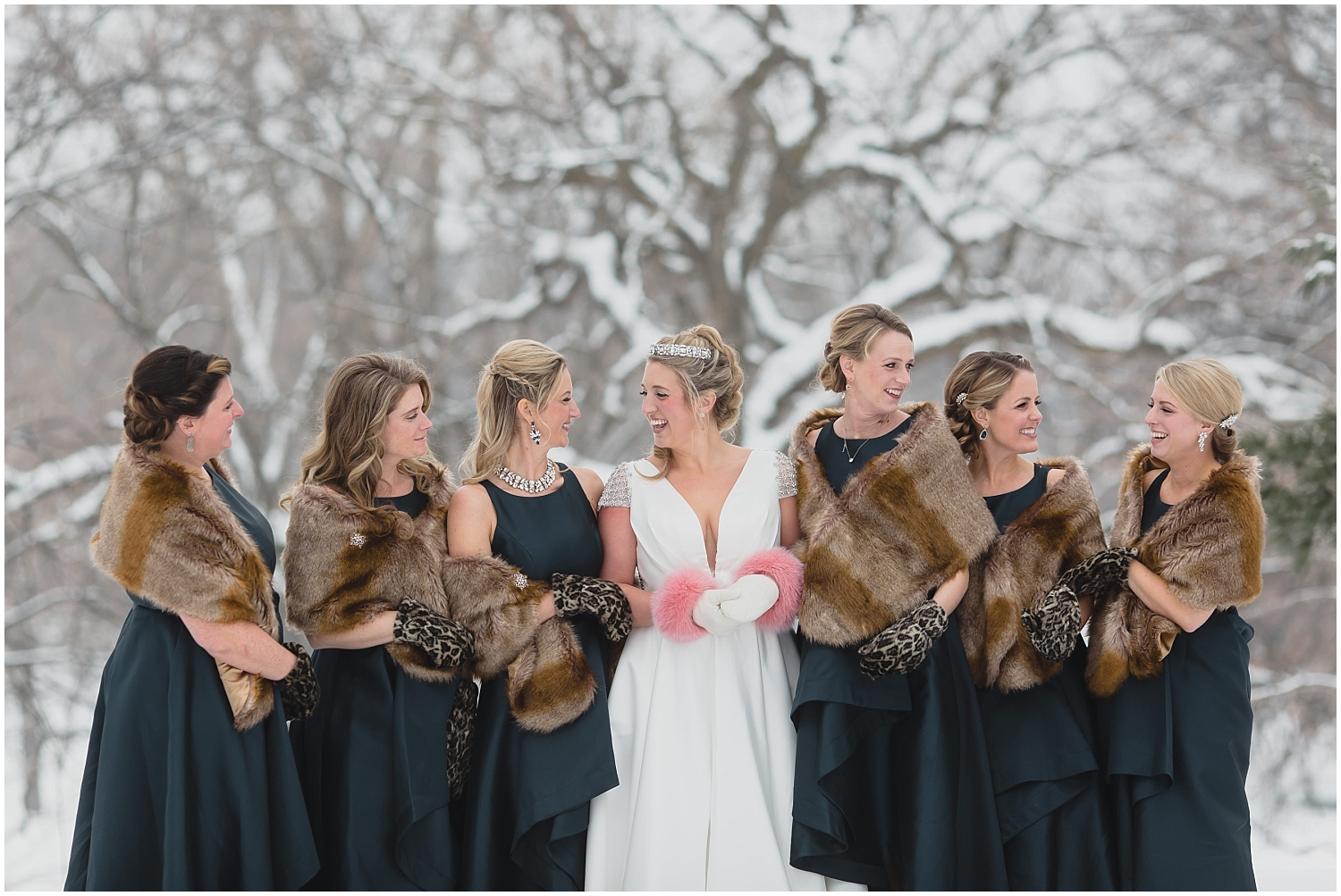 Minnesota Wedding Planner, Mpls Wedding Planner, Machine Shop MPLS, Mpls Wedding Venue,   Bride with her bridesmaids in the Winter Snow