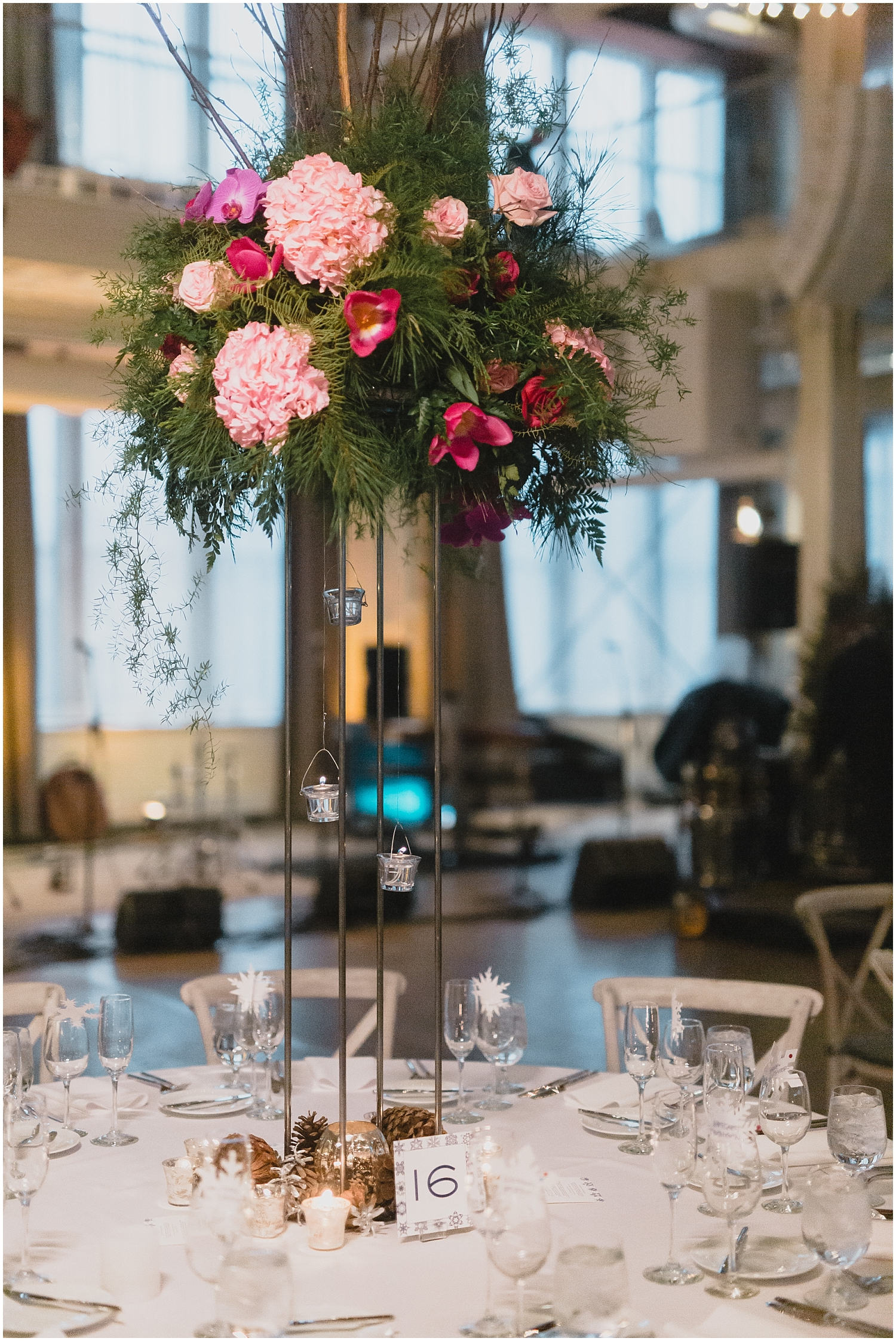 Minnesota Wedding Planner, Mpls Wedding Planner, Machine Shop MPLS, Mpls Wedding Venue,   Tall Floral Centerpieces