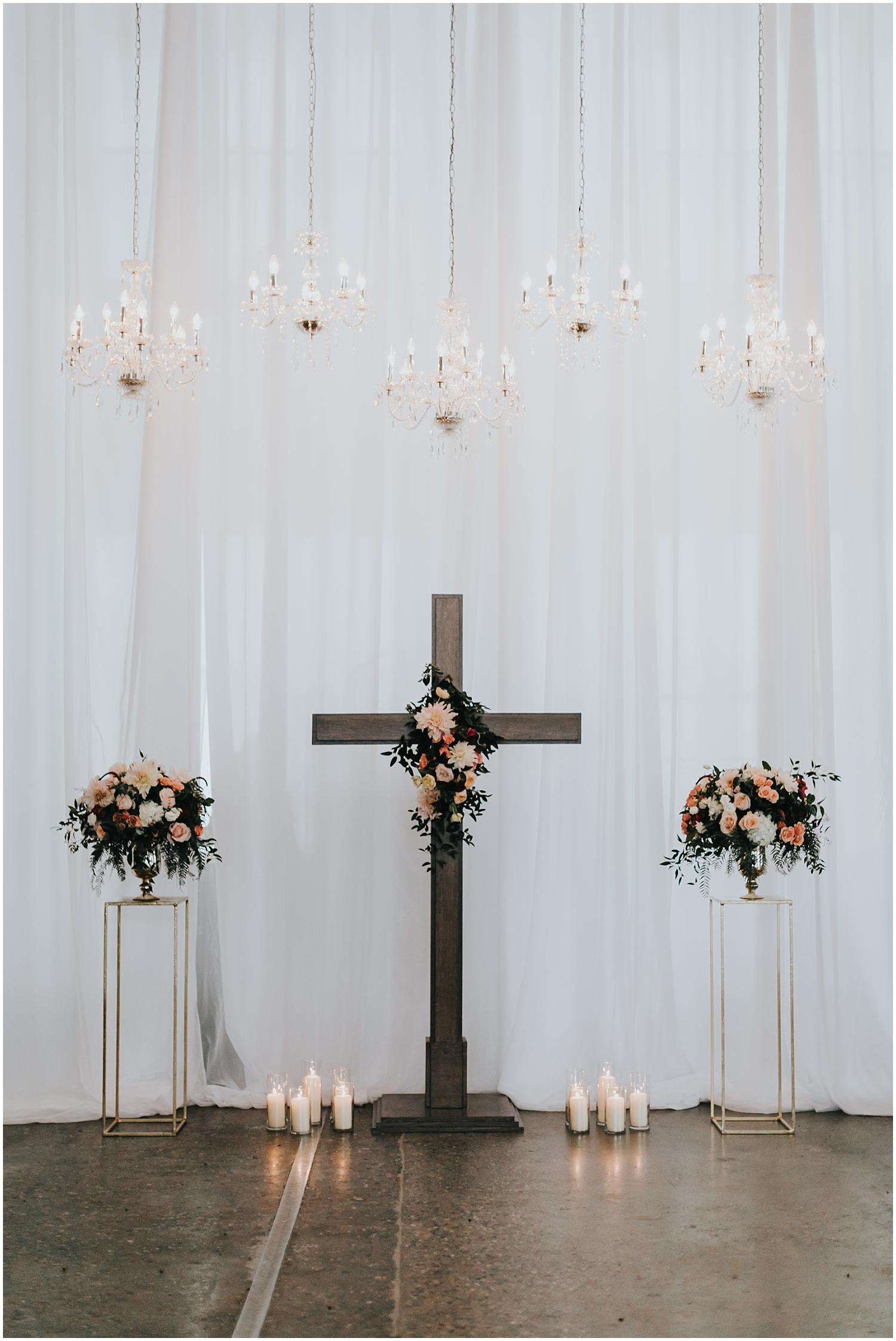 wedding ceremony cross and decor