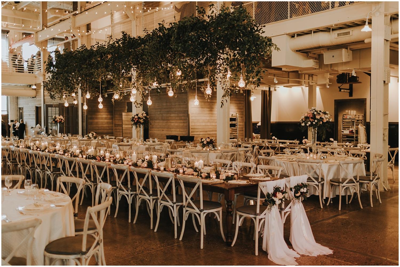 stunning wedding reception in the machine shop